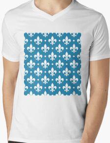 White Fleur de Lis on Blue Background Mens V-Neck T-Shirt
