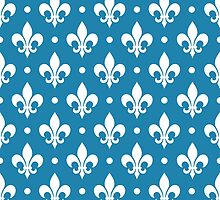 White Fleur de Lis on Blue Background by ImageNugget