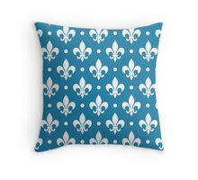 White Fleur de Lis on Blue Background Throw Pillow