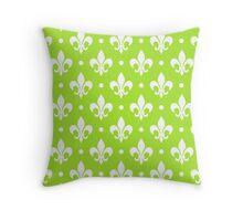 White Fleur de Lis on LimeGreen Background Throw Pillow