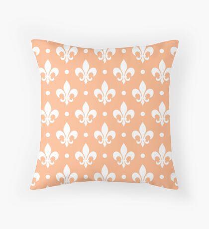 White Fleur de Lis on Peach Background Throw Pillow