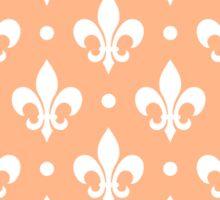 White Fleur de Lis on Peach Background Sticker