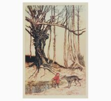 Hansel & Grethel & Other Tales by Grimm Wilelm and Jacob art by Arthur Rackham 0165 Red Riding Hood and the Wolf in the Wood Baby Tee