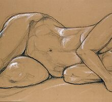 Female Nude 002 Drawing in Pastels by Enchanted Studios
