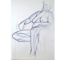 Seated Female Nude in Ballpoint Pen Photographic Print