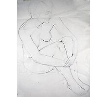 Female Nude 020 Pencil Sketch Photographic Print