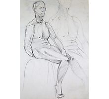 Male Nude 028 Pencil Drawing Photographic Print