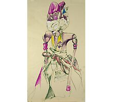 Pen and Ink Oriental Figure Photographic Print