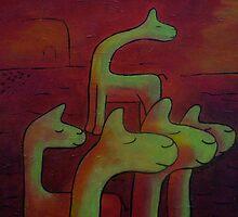 Llamas Looking by Ingrid Russell