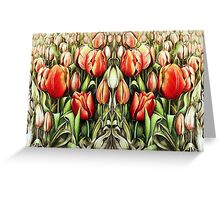 Mirrored Field of Tulips in Colour Greeting Card