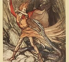 The Rhinegold & The Valkyrie by Richard Wagner art Arthur Rackham 1910 0117 Horrible Dragon Swallow Me Not by wetdryvac