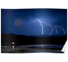 Lightning Storm - Full Moon - Misty Lake  Poster