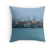 Boats in a Row - Thailand Throw Pillow