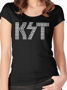 KST Black and White Women's Fitted Scoop T-Shirt