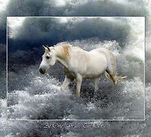 Fantasy White Horse & Ocean Surf Poster by NaturePrints
