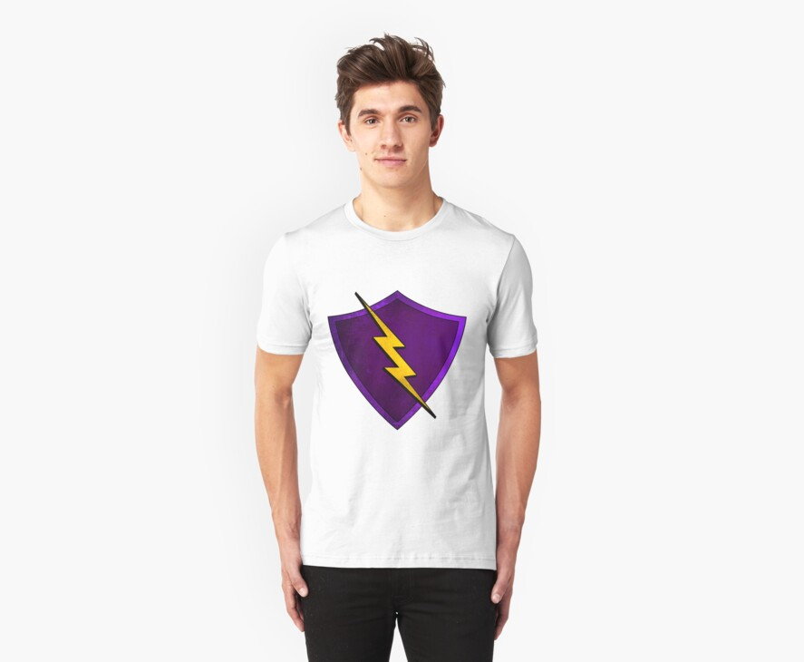 Superhero Design - Purple Shield with Lightning Bolt by Chunga