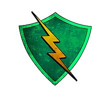 Superhero Design - Green Shield with Lightning Bolt Photographic Print