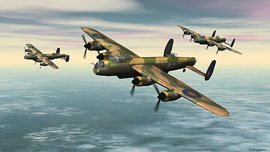 A Flight of Avro Lancaster bombers by Walter Colvin