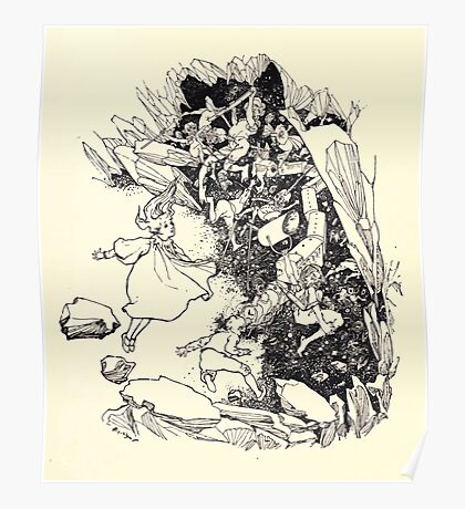 The Zankiwank & the Bletherwitch by Shafto Justin Adair Fitz Gerald art Arthur Rackham 1896 0135 Red Cavern Swallows All Poster