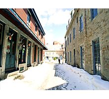 Snow-covered street in Old Montreal Photographic Print