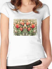 Mirrored Field of Tulips in Colour Women's Fitted Scoop T-Shirt