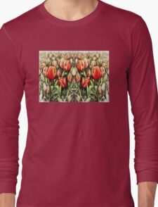 Mirrored Field of Tulips in Colour Long Sleeve T-Shirt