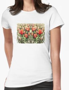 Mirrored Field of Tulips in Colour T-Shirt