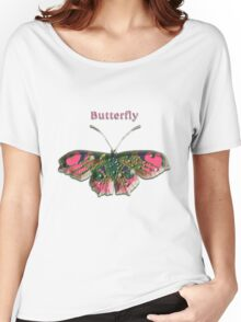 Pink Crystal Butterfly Women's Relaxed Fit T-Shirt