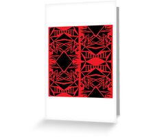 Geometric vector abstraction in red and black Greeting Card