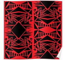Geometric vector abstraction in red and black Poster