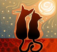 couple of cats in love on a house roof by nuanz
