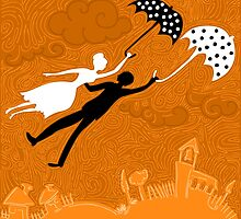 couple in love flying with umbrellas by nuanz