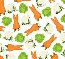 Trendy orange green white vegetable pattern  by Maria Fernandes