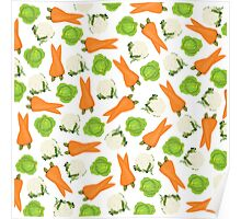 Trendy orange green white vegetable pattern  Poster