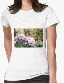 Pink flowers of Peony Womens Fitted T-Shirt