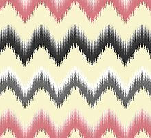 Modern coral gray yellow black trendy ikat pattern  by Maria Fernandes