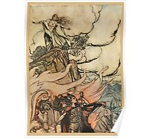 Siegfried & The Twilight of the Gods by Richard Wagner art Arthur Rackham 1911 0191 Siegfried Leaves Brunnhilde in Search of Adventure Poster