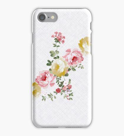 Vintage elegant pink yellow summer flowers pattern  iPhone Case/Skin