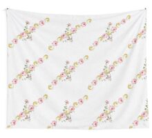 Vintage elegant pink yellow summer flowers pattern  Wall Tapestry
