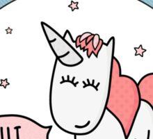 Cute Unicorn with Rainbow Sticker
