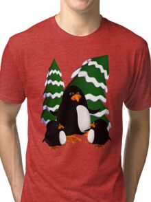 Happy Penguin Family Tri-blend T-Shirt