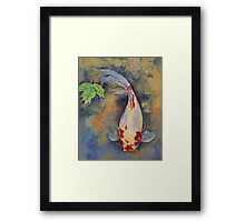 Koi with Japanese Maple Leaf Framed Print