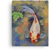 Koi with Japanese Maple Leaf Canvas Print