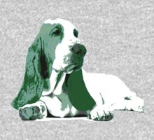 Basset Hound Dog  - Green Kids Tee