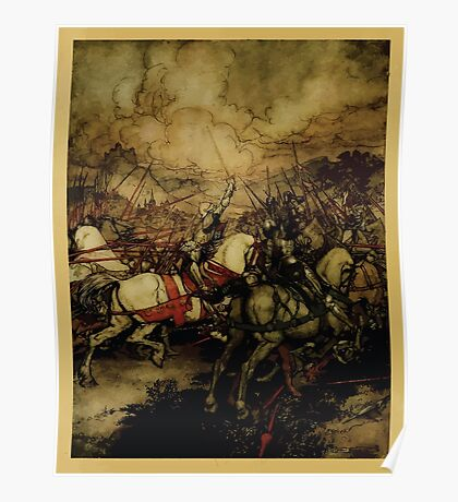 The romance of King Arthur and his knights of the Round Table art Arthur Rackham 1917 0010 Arthur First Draws Excalibur Poster