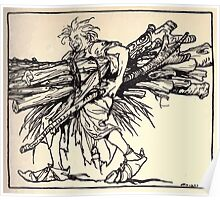 Irish Fairy Tales by James Stephans art by Arthur Rackham 1920 0239 Wood Carying Poster