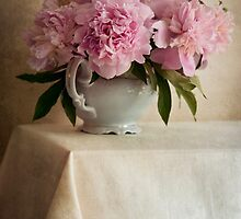 Still life with pink peonies by JBlaminsky