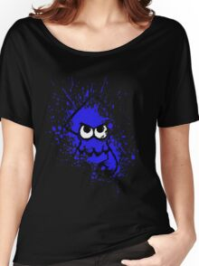 Splatoon Black Squid with Blank Eyes on Blue Splatter Mask Women's Relaxed Fit T-Shirt