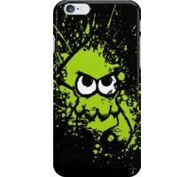 Splatoon Black Squid with Blank Eyes on Green Splatter Mask iPhone Case/Skin