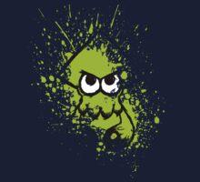 Splatoon Black Squid with Blank Eyes on Green Splatter Mask Kids Tee